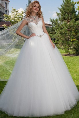 High Neck Maxi Beaded Tulle Wedding Dress With Court Train And Corset Back