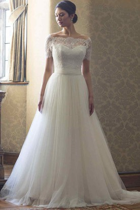 A-Line Beaded Short-Sleeve Bateau-Neck Lace&Tulle Wedding Dress With Illusion