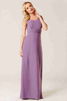 Ruched Sleeveless Scoop Neck Chiffon Bridesmaid Dress With Illusion Back