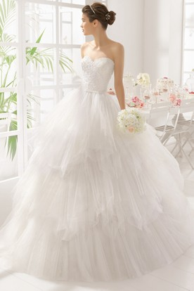 Ball Gown Sweetheart Tiered Long Tulle Wedding Dress With Beading And Ruffles
