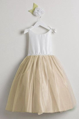 Tea-Length Sleeveless Bowed Tulle&Satin Flower Girl Dress