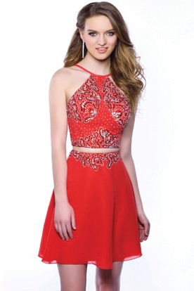 Two Piece Chiffon A-Line Short Sleeveless Homecoming Dress Featuring Bodice Rhinestones