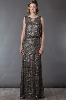 Sleeveless Allover Sequin Long Mother Of The Bride Dress Casual Style