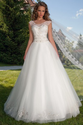 Ball Gown Jeweled Scoop-Neck Sleeveless Tulle Wedding Dress With Cape