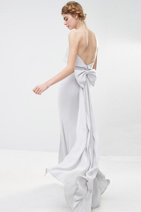 Sheath Ankle-Length Strapless Bowed Chiffon Bridesmaid Dress