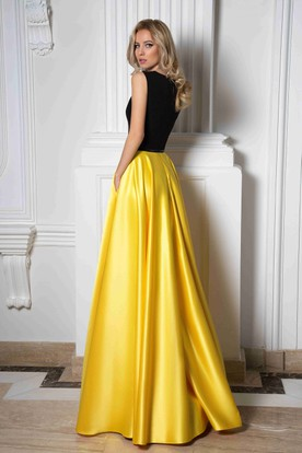 A-Line Long Sash Sleeveless V-Neck Satin Prom Dress