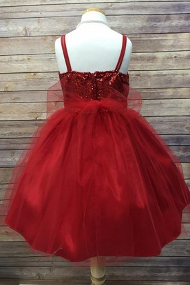 Spaghetti Tea-Length Tulle&Sequins Flower Girl Dress