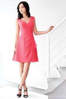 Mini Sleeveless Side-Draped V-Neck Chiffon Bridesmaid Dress