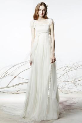 Sheath Floor-Length Square Neck Poet Sleeve Empire Tulle Wedding Dress