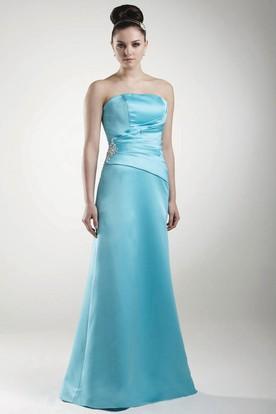 Embroideried Maxi Sleeveless Jeweled Satin Bridesmaid Dress