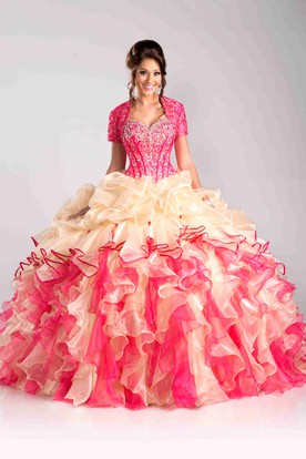 Sweetheart Sequined Corset Ball Gown With Cascading Ruffles