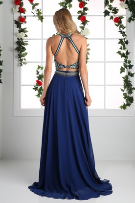 A-Line Long Scoop-Neck Sleeveless Chiffon Straps Dress With Beading And Pleats