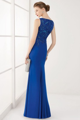Bateau Neck Sleeveless Sheath Long Prom Dress With Crystal Top And Belt