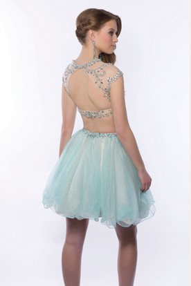 4d5e060aa57 ... Cap Sleeve Two-Piece Mini Homecoming Dress With Jeweled Top And Tulle  Skirt