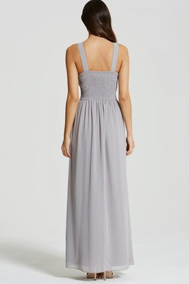 Ankle-Length Sleeveless Ruched Scoop Neck Chiffon Bridesmaid Dress With Straps