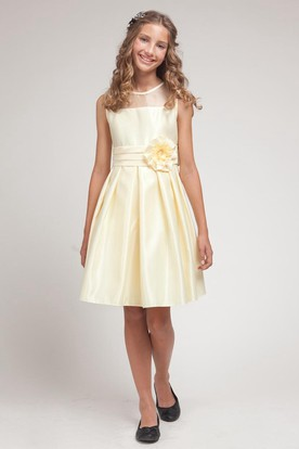 Knee-Length Pleated Split-Front Organza&Satin Flower Girl Dress