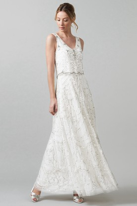 Wedding dresses under 100 dollars cheap wedding dresses sheath v neck long sleeveless tulle wedding dress with sequins and v back junglespirit Image collections