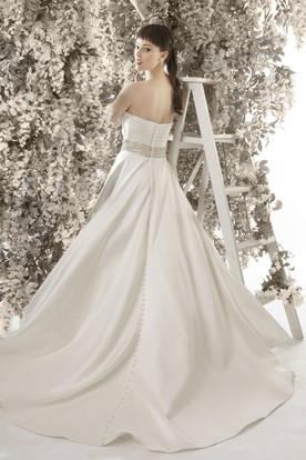 A-Line Floor-Length Sweetheart Jeweled Sleeveless Satin Wedding Dress