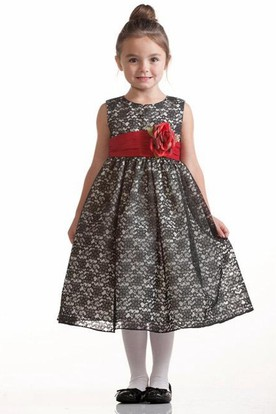 Tea-Length Floral Lace Flower Girl Dress