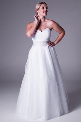 Jeweled Sweetheart Tulle Plus Size Wedding Dress With Criss Cross