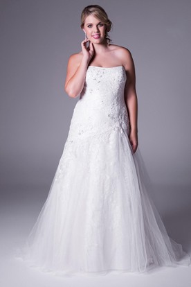 Maxi Appliqued Strapless Tulle Plus Size Wedding Dress With Pick Up And Corset Back
