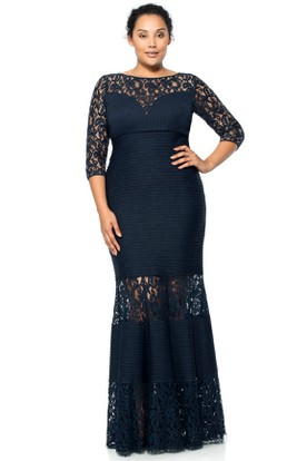Mermaid Scoop Neck Half Sleeve Lace Evening Dress With Illusion Back