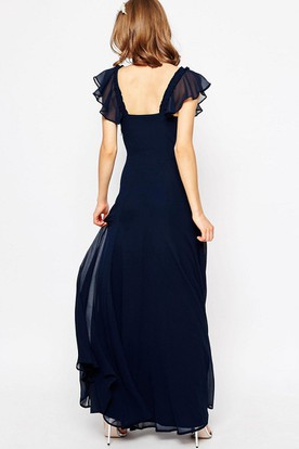 A-Line Poet-Sleeve Cowl-Neck Maxi Chiffon Bridesmaid Dress