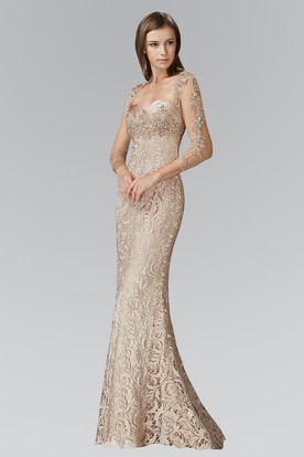 Sheath Floor-Length Sweetheart Long Sleeve Lace Dress With Beading