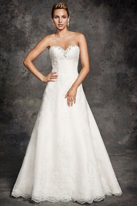 A-Line Sweetheart Long Appliqued Lace Wedding Dress With Beading And Corset Back