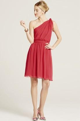 Short One-Shoulder Ruched Sleeveless Chiffon Bridesmaid Dress