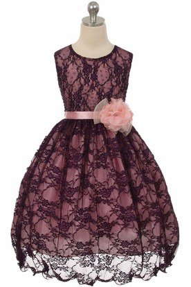 Tea-Length Floral Beaded Lace&Satin Flower Girl Dress With Sash
