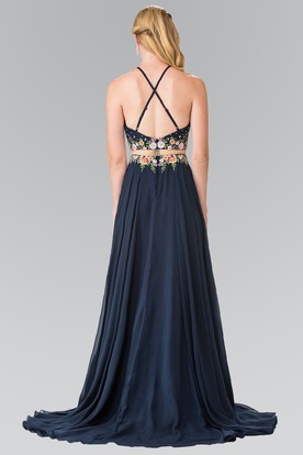 A-Line Long Scoop-Neck Sleeveless Chiffon Straps Dress With Embroidery And Pleats