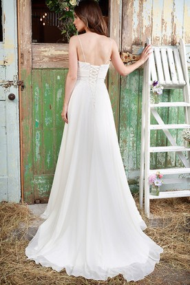 Pleated Spaghetti Long Chiffon Wedding Dress With Appliques And Corset Back