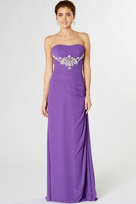 Ruched Strapless Chiffon Bridesmaid Dress With Appliques And Draping