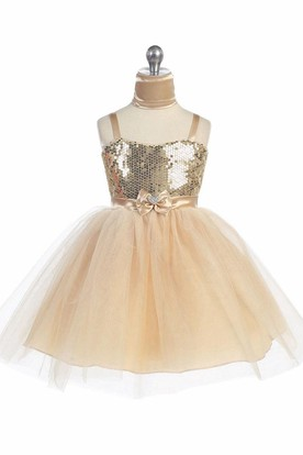 Midi Cape Beaded Tiered Tulle&Sequins Flower Girl Dress With Ribbon