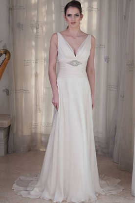 Sheath Sleeveless Ruched V-Neck Floor-Length Wedding Dress With Waist Jewellery