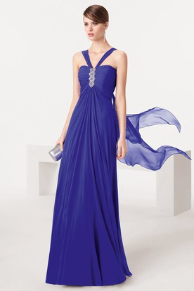 Sheath Long Empire Sleeveless Strapped Ruched Chiffon Prom Dress With Broach