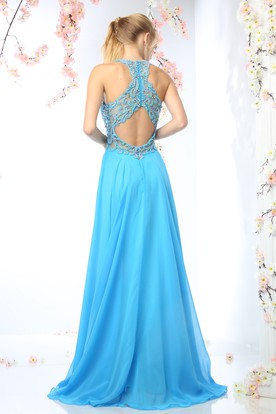 Sheath High Neck Sleeveless Chiffon Keyhole Dress With Ruching And Beading