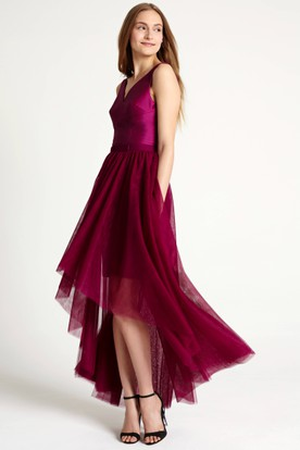 High-Low Sleeveless V-Neck Ribboned Tulle Bridesmaid Dress