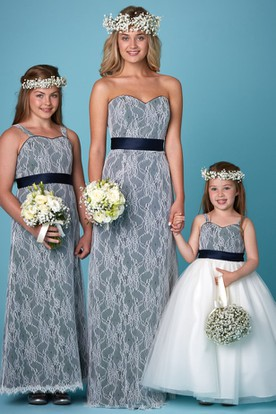 Ribboned Sweetheart Sleeveless Lace Bridesmaid Dress