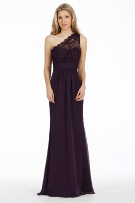 Floor-Length Sheath One-Shoulder Sleeveless Lace Chiffon Bridesmaid Dress