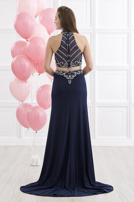 Sheath Long High Neck Sleeveless Jersey Illusion Dress With Beading