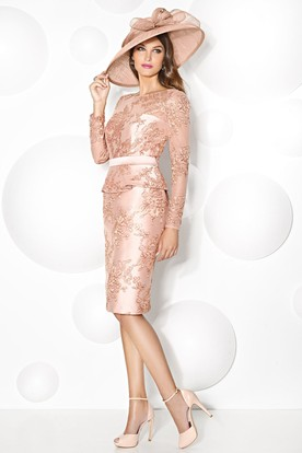 Sheath Knee-Length Bateau Neck Appliqued Long Sleeve Satin Mother Of The Bride Dress