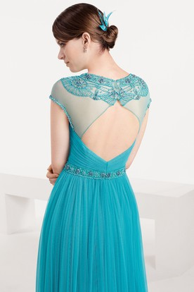 A-Line Cap-Sleeve Criss-Cross Scoop-Neck Floor-Length Tulle Prom Dress With Pleats And Beading