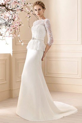 Sheath Maxi Appliqued 3-4-Sleeve Jewel-Neck Jersey&Lace Wedding Dress With Waist Jewellery
