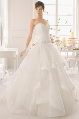 Ball Gown Sweetheart Chiffon Wedding Dress With Criss Cross And Draping