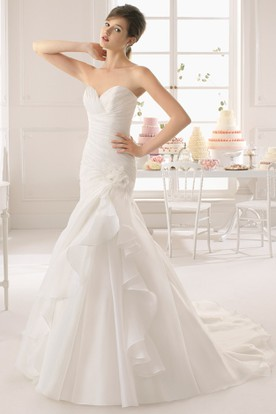 Mermaid Sweetheart Organza Wedding Dress With Criss Cross And Draping