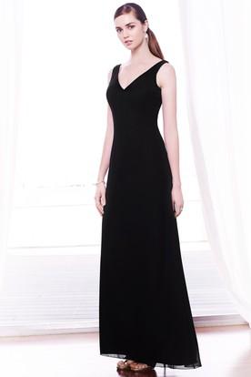 Ankle-Length V-Neck Lace Sleeveless Chiffon Bridesmaid Dress