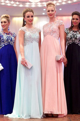 A-Line Cap-Sleeve Floor-Length Jewel-Neck Empire Beaded Chiffon Prom Dress