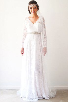 Long sleeve wedding dresses sleeved lace dresses ucenter dress sheath long sleeve v neck lace wedding dress with waist jewellery junglespirit Choice Image